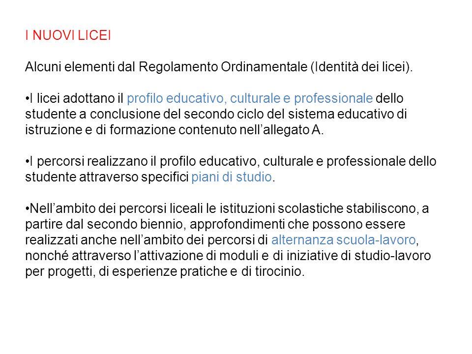 I NUOVI LICEI Alcuni elementi dal Regolamento Ordinamentale (Identità dei licei). I licei adottano il profilo educativo, culturale e professionale del