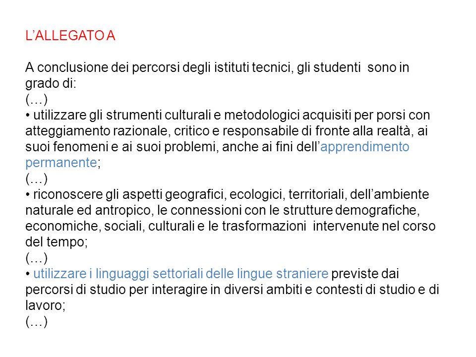 LALLEGATO A A conclusione dei percorsi degli istituti tecnici, gli studenti sono in grado di: (…) utilizzare gli strumenti culturali e metodologici ac