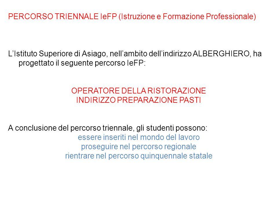 PERCORSO TRIENNALE IeFP (Istruzione e Formazione Professionale) LIstituto Superiore di Asiago, nellambito dellindirizzo ALBERGHIERO, ha progettato il