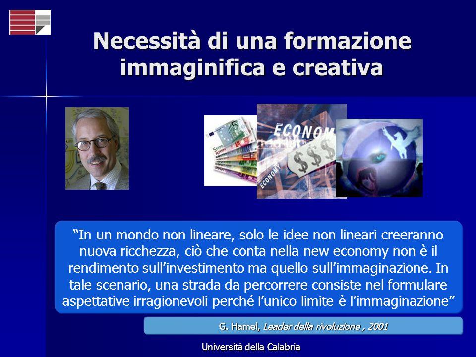 Università della Calabria Necessità di una formazione immaginifica e creativa In un mondo non lineare, solo le idee non lineari creeranno nuova ricche