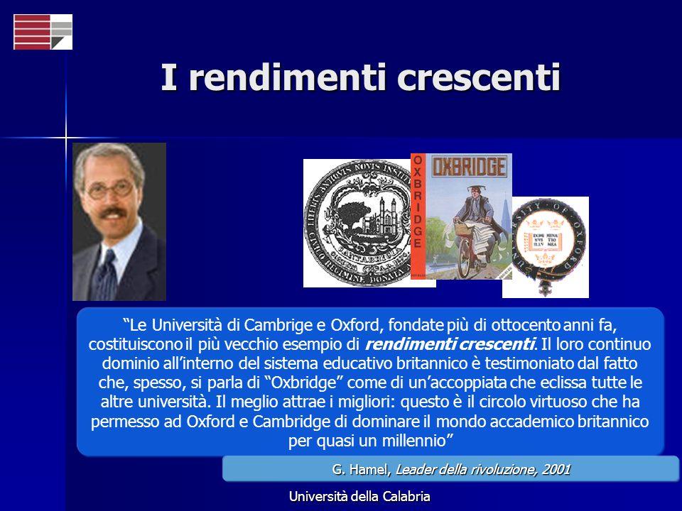 Università della Calabria I rendimenti crescenti Le Università di Cambrige e Oxford, fondate più di ottocento anni fa, costituiscono il più vecchio esempio di rendimenti crescenti.