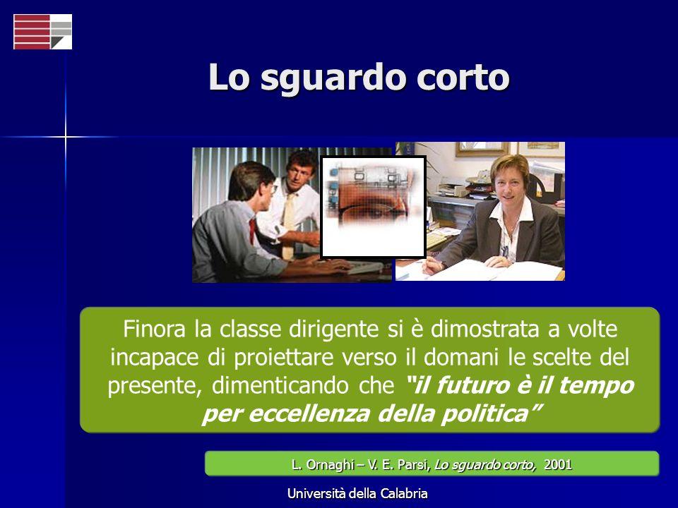 Università della Calabria Lo sguardo corto Finora la classe dirigente si è dimostrata a volte incapace di proiettare verso il domani le scelte del pre