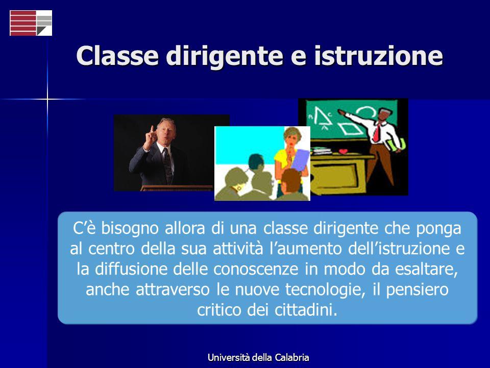 Università della Calabria Classe dirigente e istruzione Cè bisogno allora di una classe dirigente che ponga al centro della sua attività laumento dellistruzione e la diffusione delle conoscenze in modo da esaltare, anche attraverso le nuove tecnologie, il pensiero critico dei cittadini.