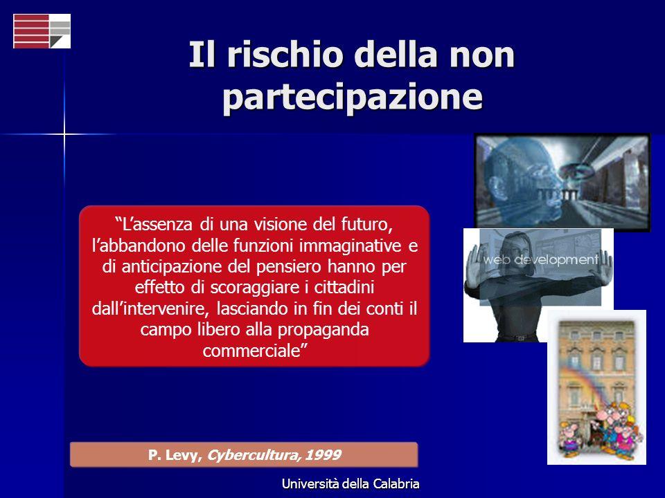 Università della Calabria Il rischio della non partecipazione Lassenza di una visione del futuro, labbandono delle funzioni immaginative e di anticipa