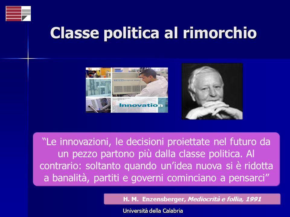 Università della Calabria Classe politica al rimorchio Le innovazioni, le decisioni proiettate nel futuro da un pezzo partono più dalla classe politica.