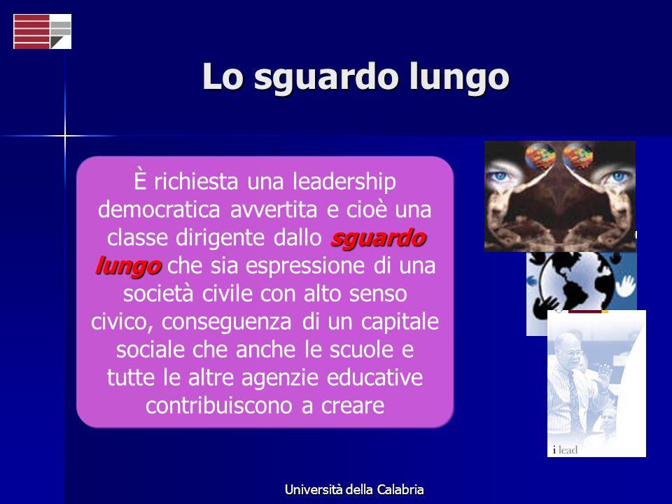 Università della Calabria Lo sguardo lungo sguardo lungo È richiesta una leadership democratica avvertita e cioè una classe dirigente dallo sguardo lungo che sia espressione di una società civile con alto senso civico, conseguenza di un capitale sociale che anche le scuole e tutte le altre agenzie educative contribuiscono a creare