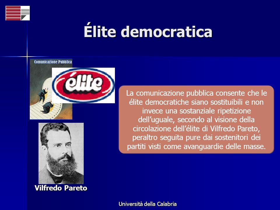 Università della Calabria Élite democratica Vilfredo Pareto La comunicazione pubblica consente che le élite democratiche siano sostituibili e non inve