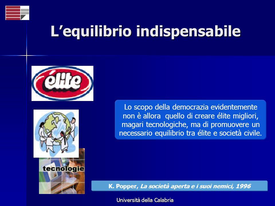 Università della Calabria Lequilibrio indispensabile Lo scopo della democrazia evidentemente non è allora quello di creare élite migliori, magari tecnologiche, ma di promuovere un necessario equilibrio tra élite e società civile.