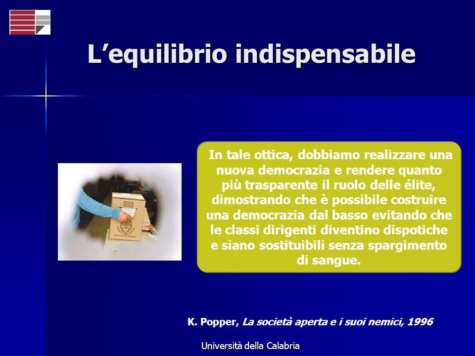 Università della Calabria Lequilibrio indispensabile In tale ottica, dobbiamo realizzare una nuova democrazia e rendere quanto più trasparente il ruol