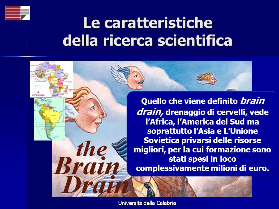 Università della Calabria Le caratteristiche della ricerca scientifica Quello che viene definito brain drain, drenaggio di cervelli, vede lAfrica, lAm