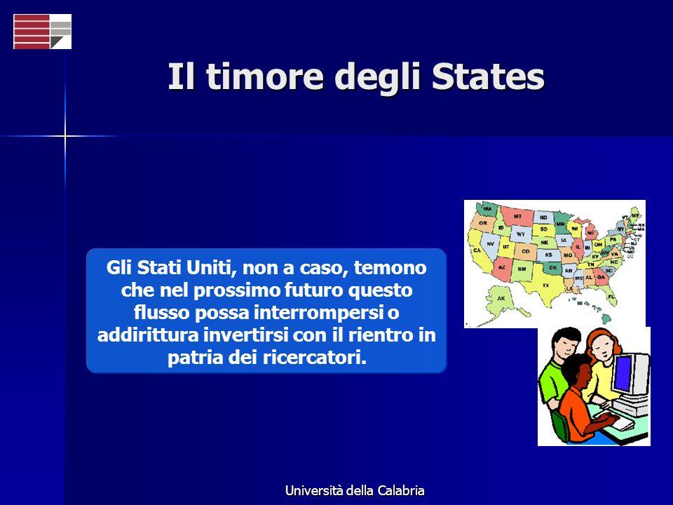 Università della Calabria Il timore degli States Gli Stati Uniti, non a caso, temono che nel prossimo futuro questo flusso possa interrompersi o addir