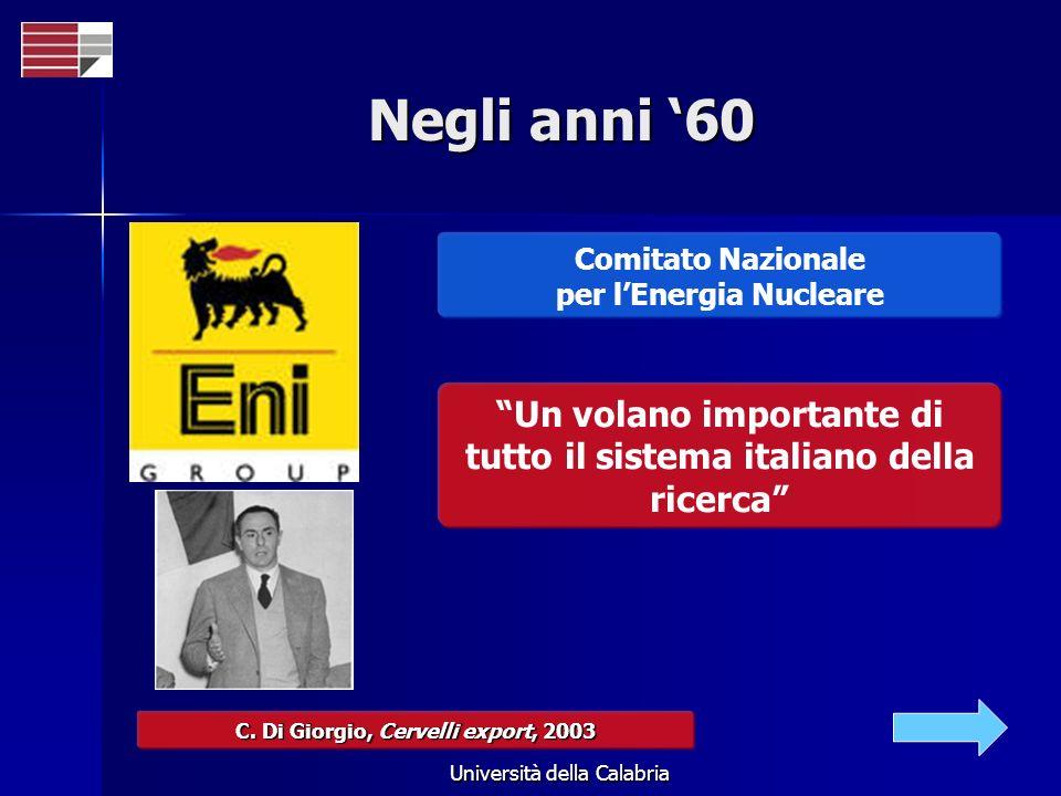 Università della Calabria Negli anni 60 Comitato Nazionale per lEnergia Nucleare Un volano importante di tutto il sistema italiano della ricerca C. Di