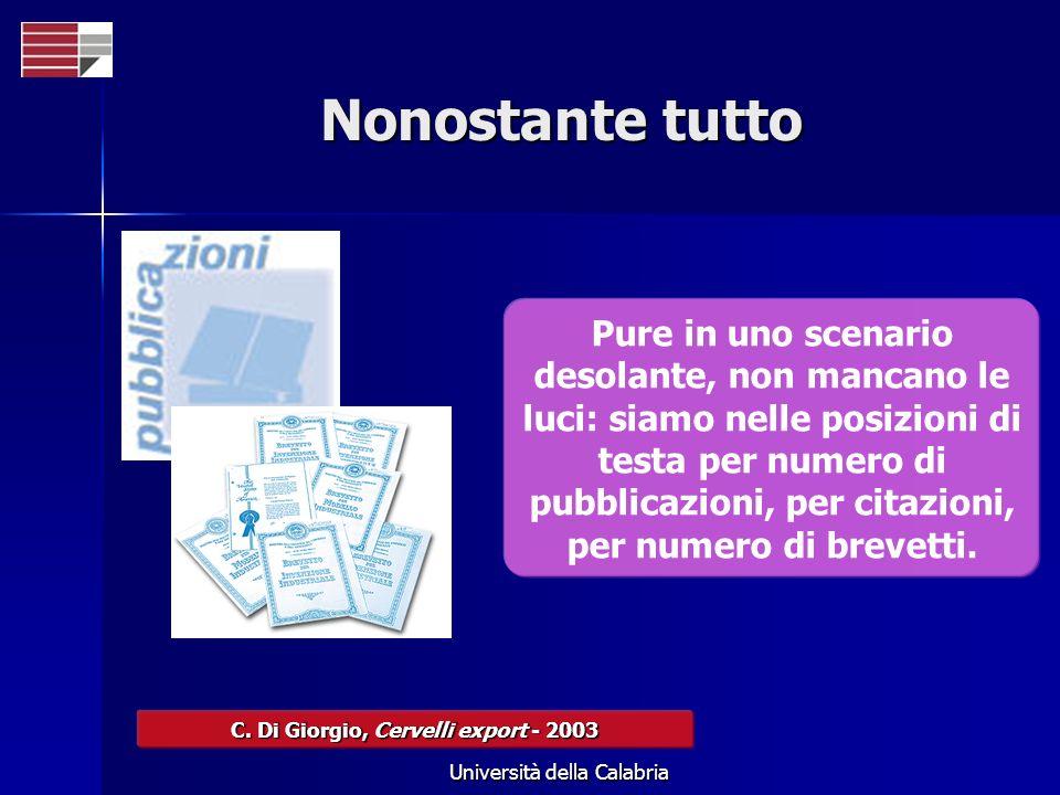 Università della Calabria Nonostante tutto C. Di Giorgio, Cervelli export - 2003 Pure in uno scenario desolante, non mancano le luci: siamo nelle posi
