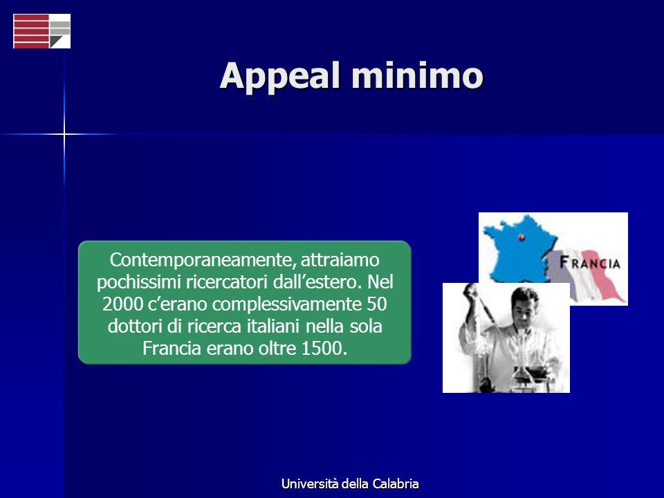 Università della Calabria Appeal minimo Contemporaneamente, attraiamo pochissimi ricercatori dallestero. Nel 2000 cerano complessivamente 50 dottori d