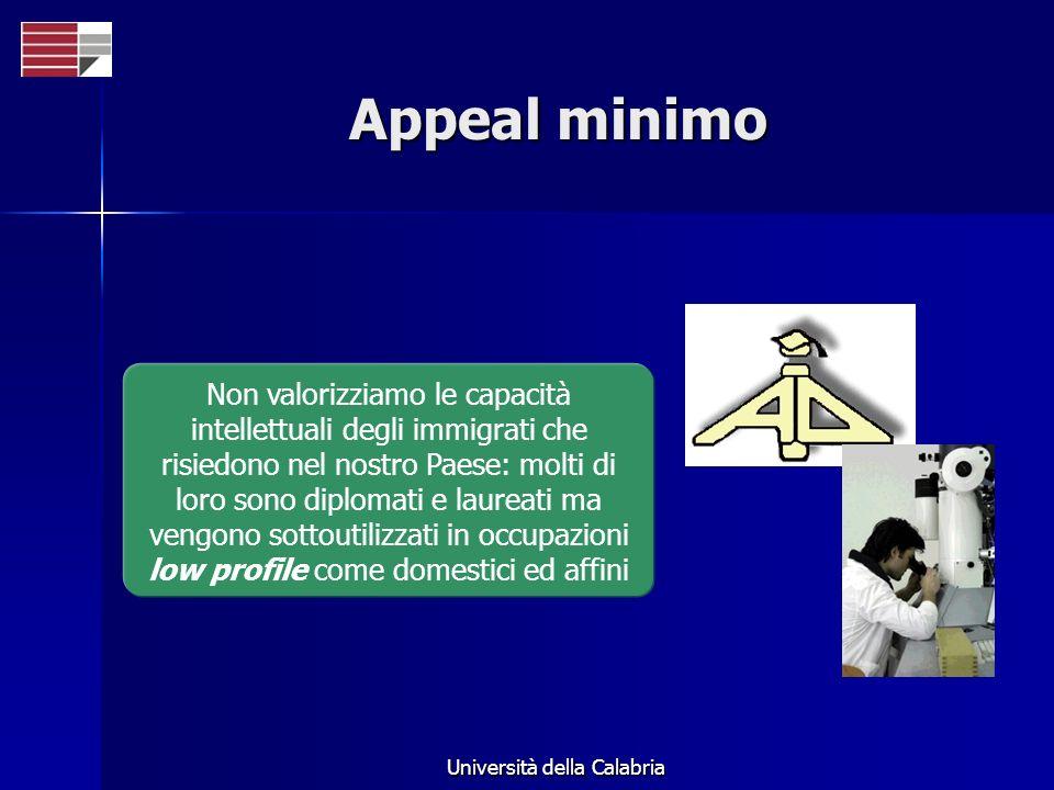 Università della Calabria Appeal minimo Non valorizziamo le capacità intellettuali degli immigrati che risiedono nel nostro Paese: molti di loro sono diplomati e laureati ma vengono sottoutilizzati in occupazioni low profile come domestici ed affini