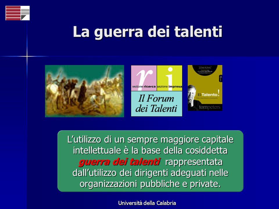 Università della Calabria La guerra dei talenti Lutilizzo di un sempre maggiore capitale intellettuale è la base della cosiddetta guerra dei talenti rappresentata dallutilizzo dei dirigenti adeguati nelle organizzazioni pubbliche e private.