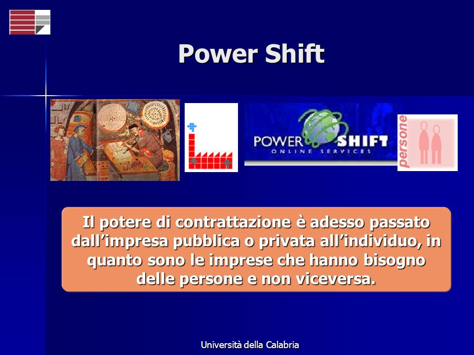 Università della Calabria Power Shift Il potere di contrattazione è adesso passato dallimpresa pubblica o privata allindividuo, in quanto sono le imprese che hanno bisogno delle persone e non viceversa.