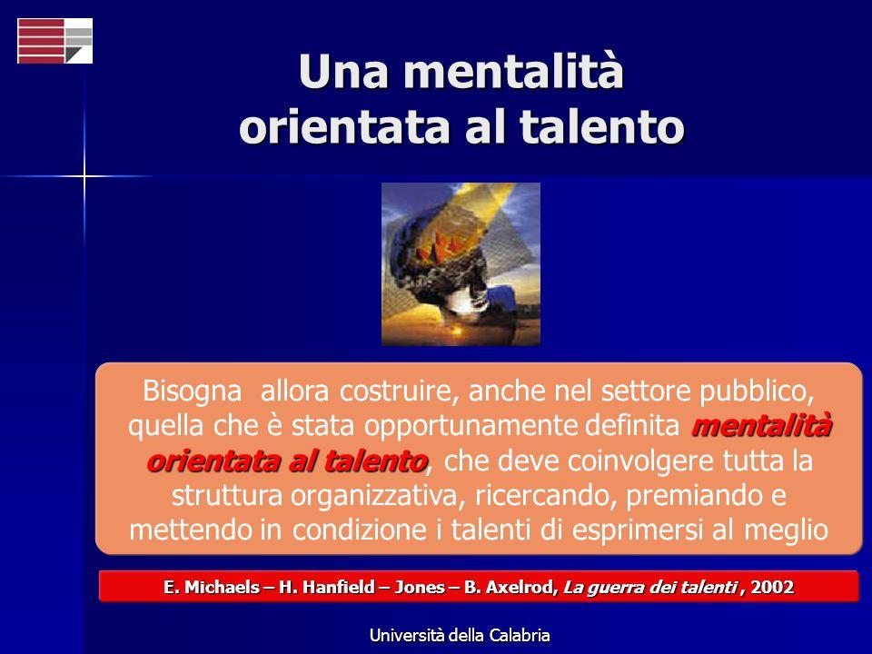 Università della Calabria Una mentalità orientata al talento mentalità orientata al talento Bisogna allora costruire, anche nel settore pubblico, quella che è stata opportunamente definita mentalità orientata al talento, che deve coinvolgere tutta la struttura organizzativa, ricercando, premiando e mettendo in condizione i talenti di esprimersi al meglio E.