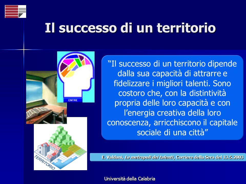 Università della Calabria Il successo di un territorio Il successo di un territorio dipende dalla sua capacità di attrarre e fidelizzare i migliori talenti.