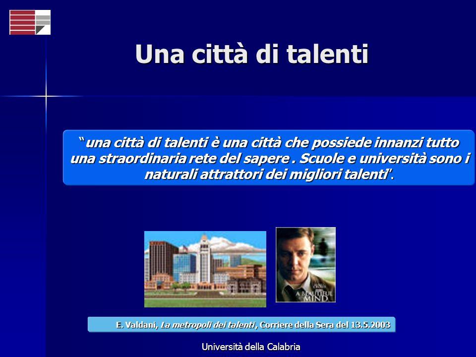 Università della Calabria Una città di talenti una città di talenti è una città che possiede innanzi tutto una straordinaria rete del sapere. Scuole e
