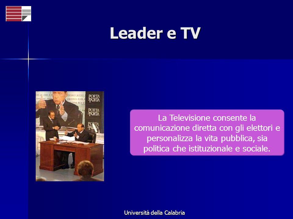 Università della Calabria Leader e TV La Televisione consente la comunicazione diretta con gli elettori e personalizza la vita pubblica, sia politica che istituzionale e sociale.