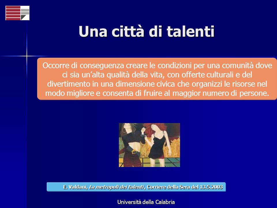 Università della Calabria Una città di talenti Occorre di conseguenza creare le condizioni per una comunità dove ci sia unalta qualità della vita, con offerte culturali e del divertimento in una dimensione civica che organizzi le risorse nel modo migliore e consenta di fruire al maggior numero di persone.