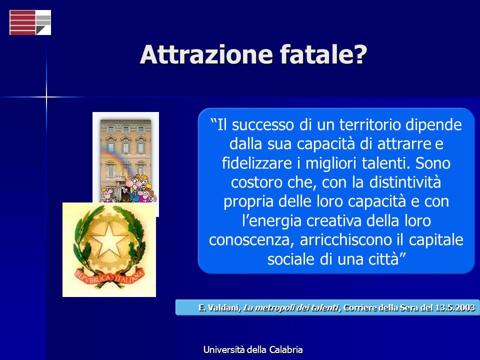 Università della Calabria Attrazione fatale? Il successo di un territorio dipende dalla sua capacità di attrarre e fidelizzare i migliori talenti. Son