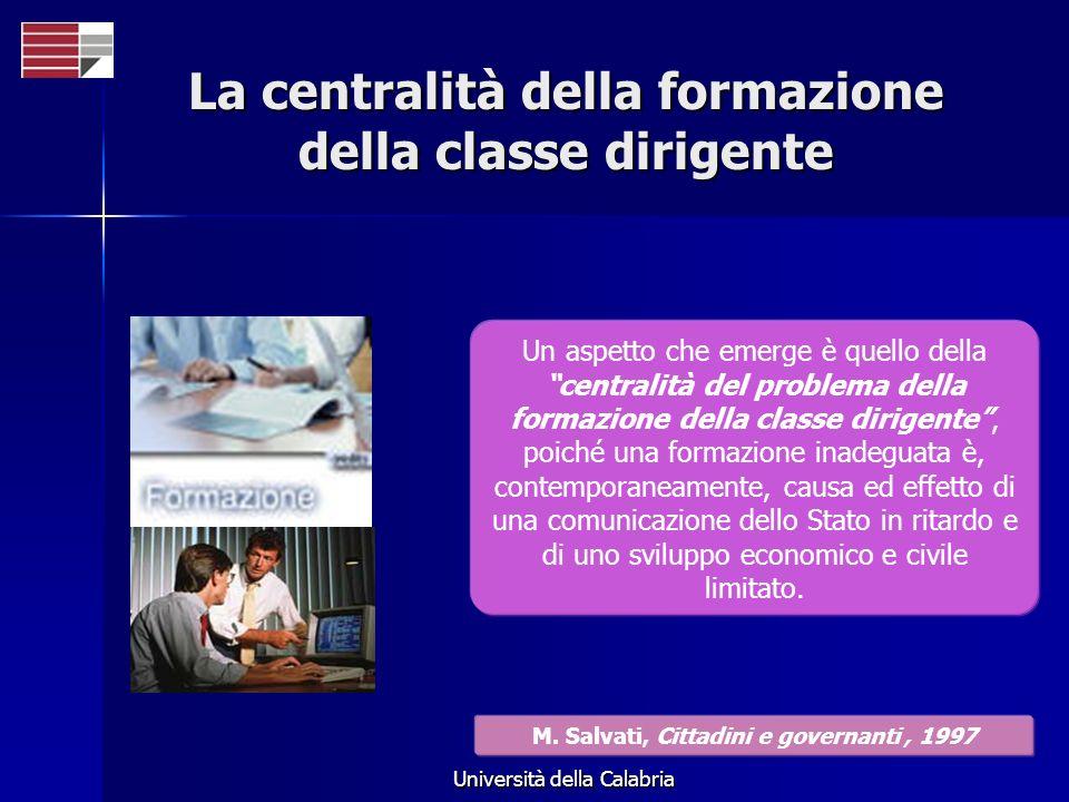 Università della Calabria La centralità della formazione della classe dirigente Un aspetto che emerge è quello della centralità del problema della for