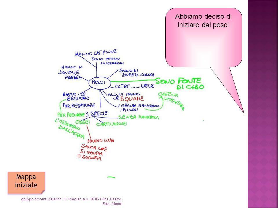 Abbiamo deciso di iniziare dai pesci Mappa iniziale gruppo docenti Zelarino, IC Parolari a.s. 2010-11ins Castro, Fazi, Mauro