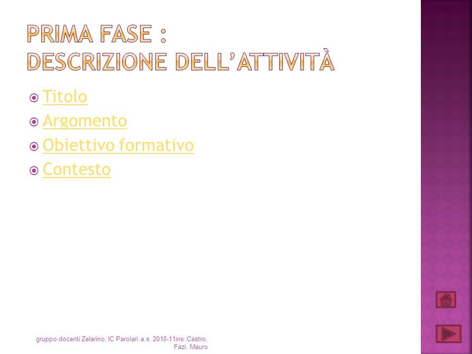 Titolo Argomento Obiettivo formativo Contesto gruppo docenti Zelarino, IC Parolari a.s. 2010-11ins Castro, Fazi, Mauro