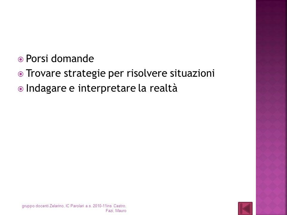 Porsi domande Trovare strategie per risolvere situazioni Indagare e interpretare la realtà gruppo docenti Zelarino, IC Parolari a.s. 2010-11ins Castro