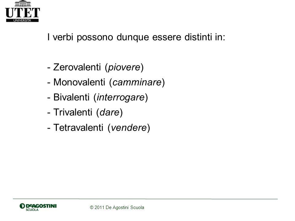 © 2011 De Agostini Scuola Sulla base degli schemi valenziali, tipicamente, il soggetto risulterà la prima valenza del verbo e loggetto la seconda (nel caso dei verbi transitivi).