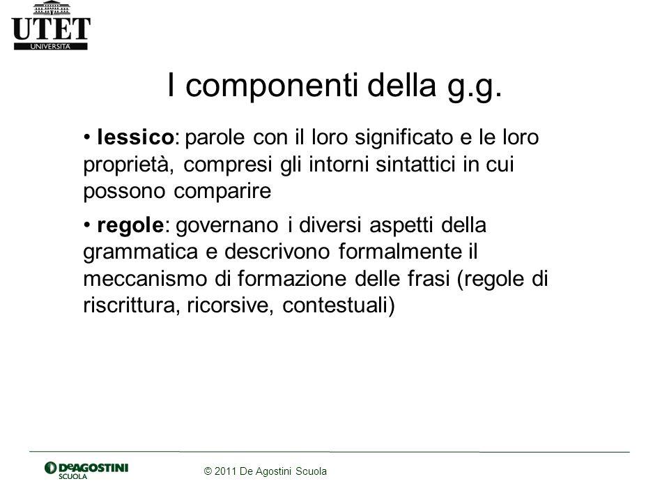 © 2011 De Agostini Scuola Le regole generano una frase.