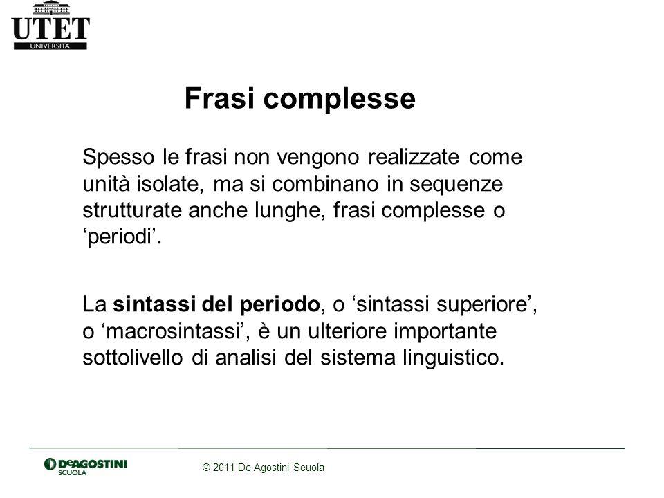 © 2011 De Agostini Scuola La coordinazione: le proposizioni vengono accostate luna allaltra senza un rapporto di dipendenza.