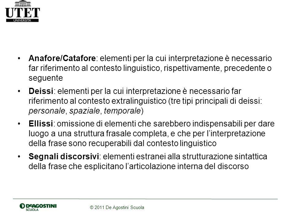 © 2011 De Agostini Scuola Anafore/Catafore: elementi per la cui interpretazione è necessario far riferimento al contesto linguistico, rispettivamente,
