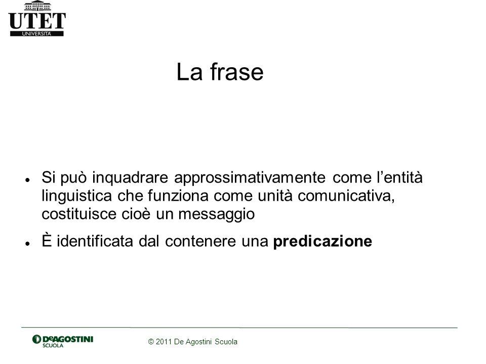 © 2011 De Agostini Scuola Una frase nominale è una frase senza verbo (es.