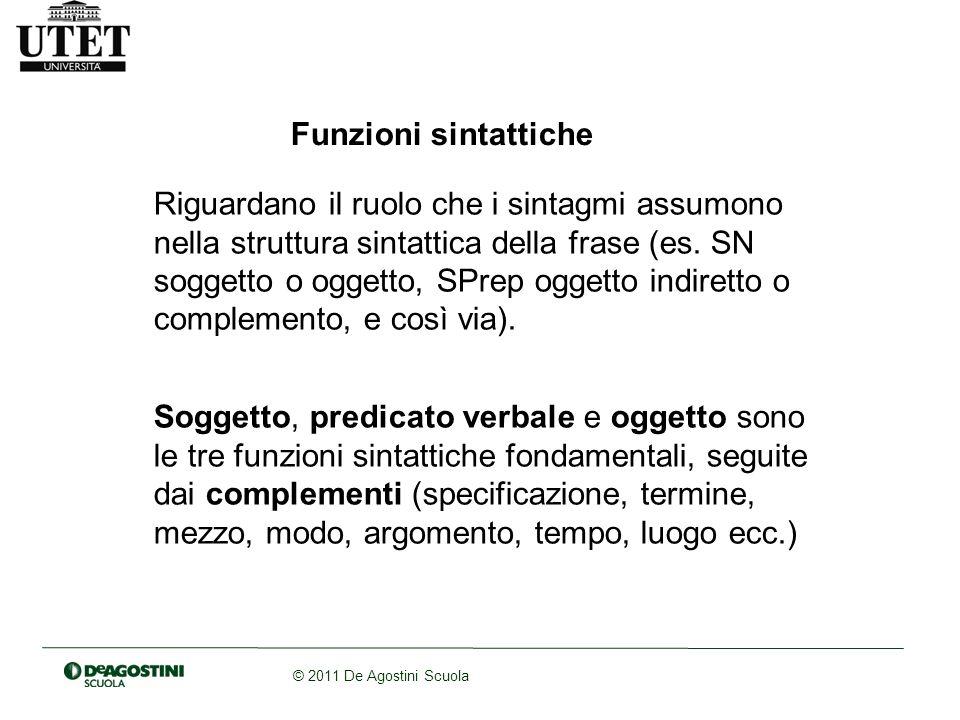 © 2011 De Agostini Scuola Schemi valenziali Costituiscono lembrione iniziale della strutturazione delle frasi.