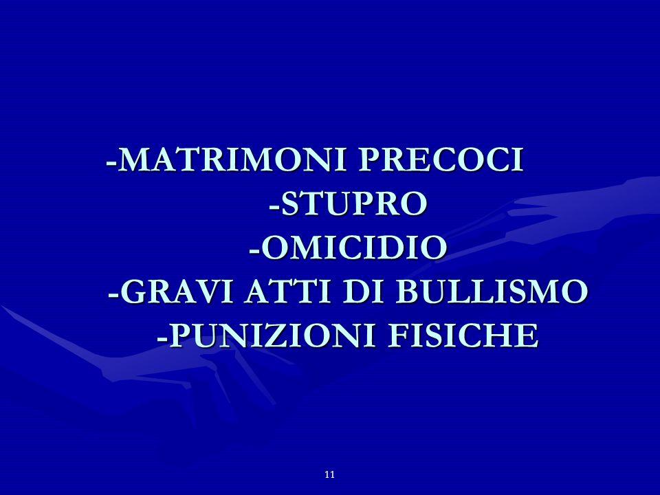 11 -MATRIMONI PRECOCI -STUPRO -OMICIDIO -GRAVI ATTI DI BULLISMO -PUNIZIONI FISICHE