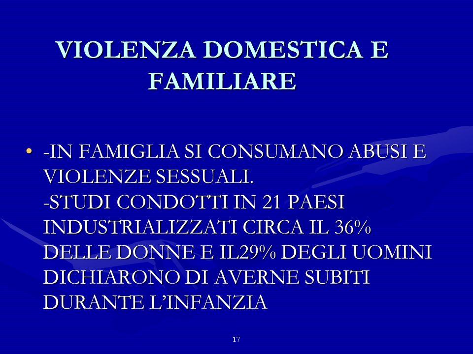 17 VIOLENZA DOMESTICA E FAMILIARE -IN FAMIGLIA SI CONSUMANO ABUSI E VIOLENZE SESSUALI.