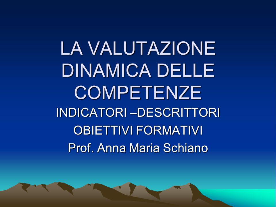 LA VALUTAZIONE DINAMICA DELLE COMPETENZE INDICATORI –DESCRITTORI OBIETTIVI FORMATIVI Prof. Anna Maria Schiano