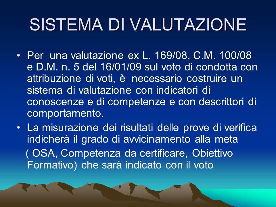 SISTEMA DI VALUTAZIONE Per una valutazione ex L. 169/08, C.M. 100/08 e D.M. n. 5 del 16/01/09 sul voto di condotta con attribuzione di voti, è necessa