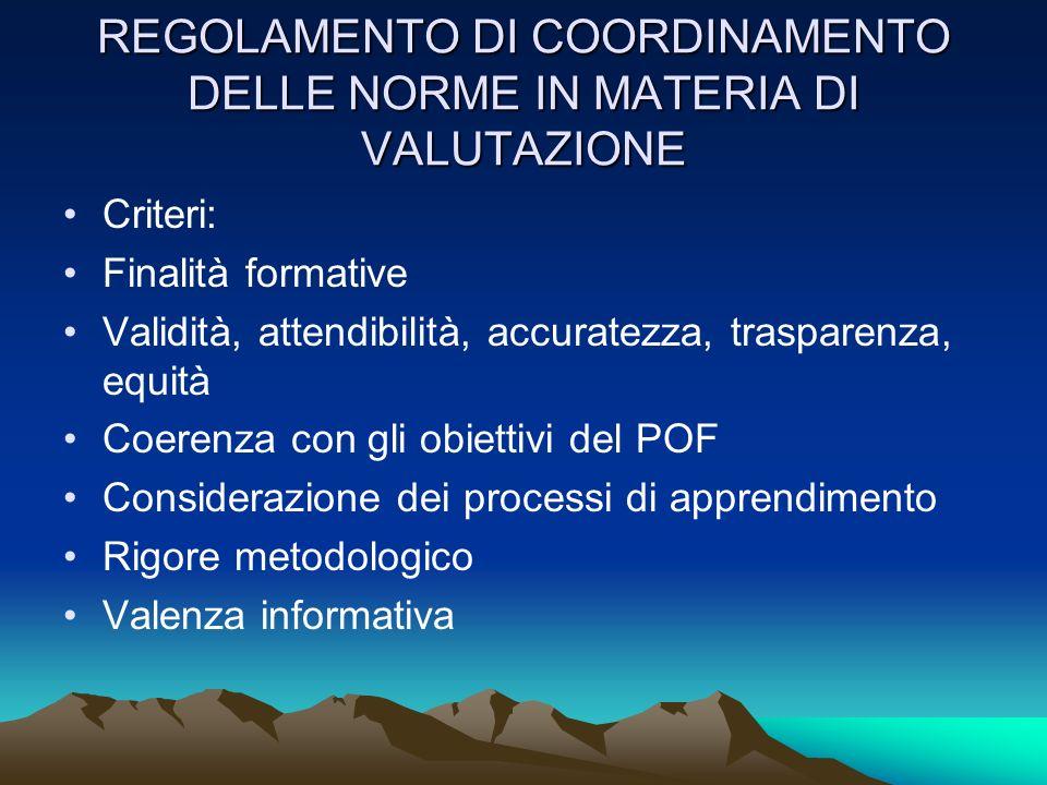 REGOLAMENTO DI COORDINAMENTO DELLE NORME IN MATERIA DI VALUTAZIONE Criteri: Finalità formative Validità, attendibilità, accuratezza, trasparenza, equi