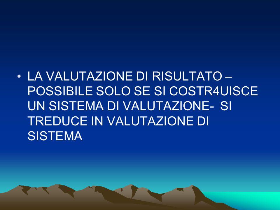 LA VALUTAZIONE DI RISULTATO – POSSIBILE SOLO SE SI COSTR4UISCE UN SISTEMA DI VALUTAZIONE- SI TREDUCE IN VALUTAZIONE DI SISTEMA