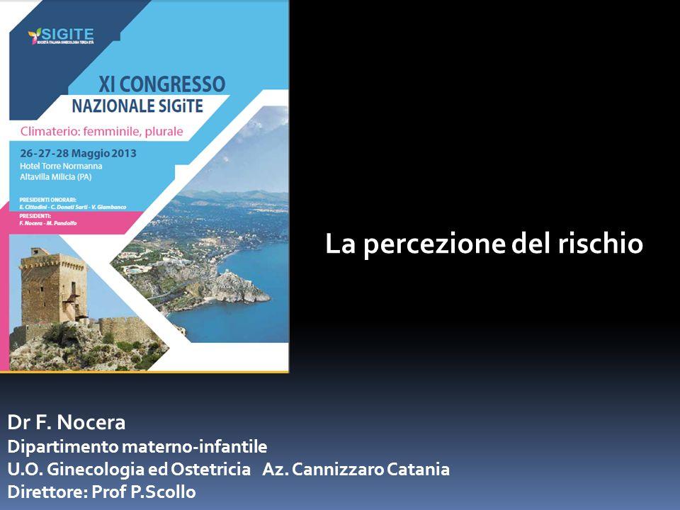 La percezione del rischio Dr F. Nocera Dipartimento materno-infantile U.O. Ginecologia ed Ostetricia Az. Cannizzaro Catania Direttore: Prof P.Scollo