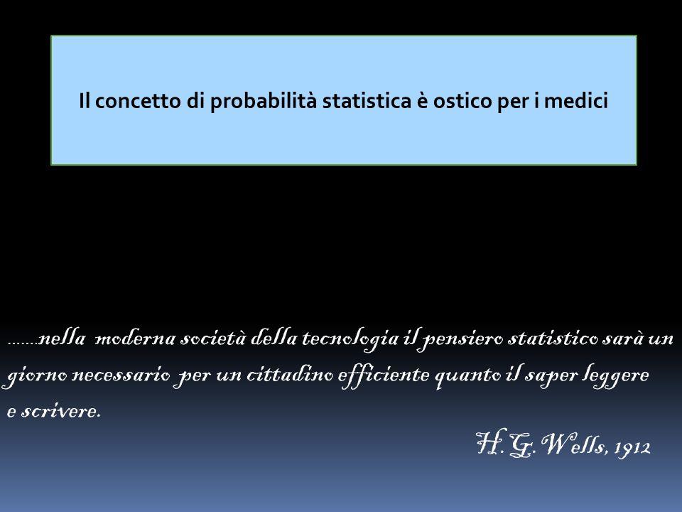 Il concetto di probabilità statistica è ostico per i medici ……. nella moderna società della tecnologia il pensiero statistico sarà un giorno necessari