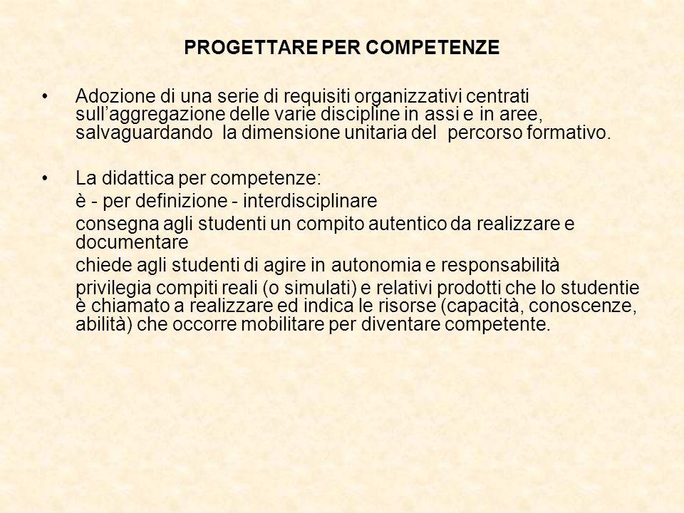 PROGETTARE PER COMPETENZE Adozione di una serie di requisiti organizzativi centrati sullaggregazione delle varie discipline in assi e in aree, salvagu