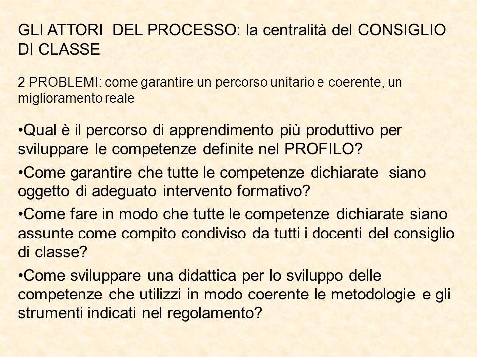 GLI ATTORI DEL PROCESSO: la centralità del CONSIGLIO DI CLASSE 2 PROBLEMI: come garantire un percorso unitario e coerente, un miglioramento reale Qual
