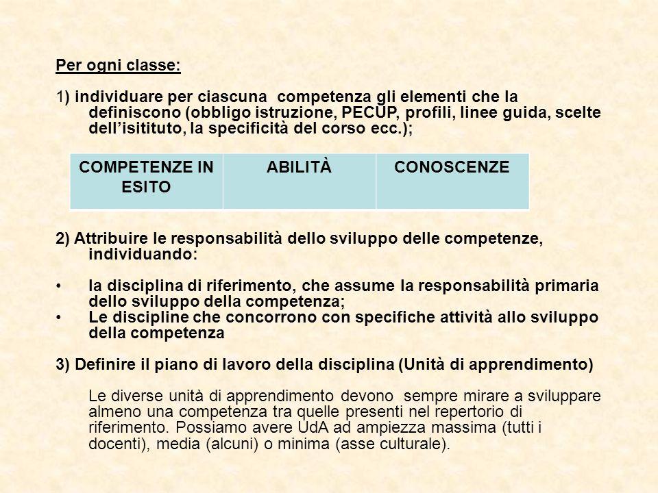 Per ogni classe: 1) individuare per ciascuna competenza gli elementi che la definiscono (obbligo istruzione, PECUP, profili, linee guida, scelte delli
