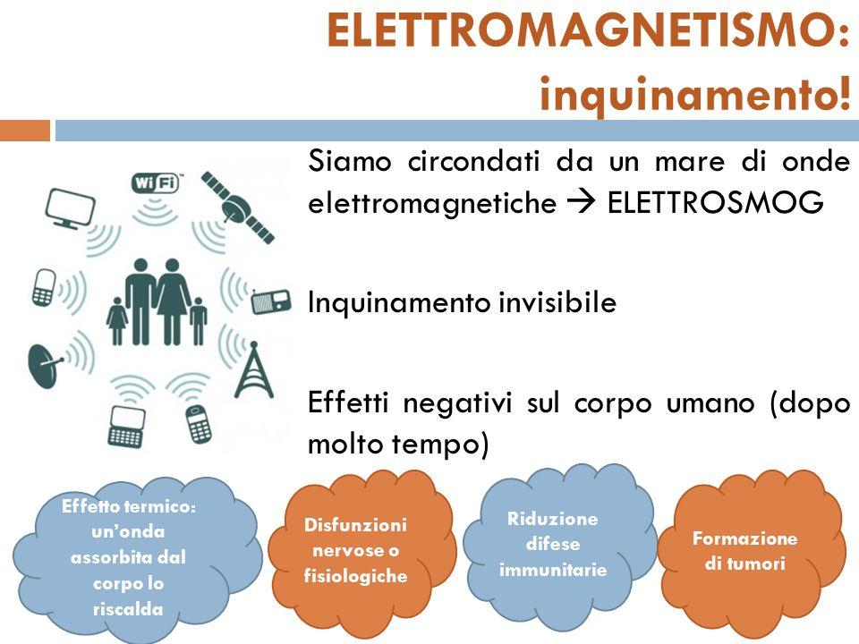 ELETTROMAGNETISMO: inquinamento! Siamo circondati da un mare di onde elettromagnetiche ELETTROSMOG Inquinamento invisibile Effetti negativi sul corpo