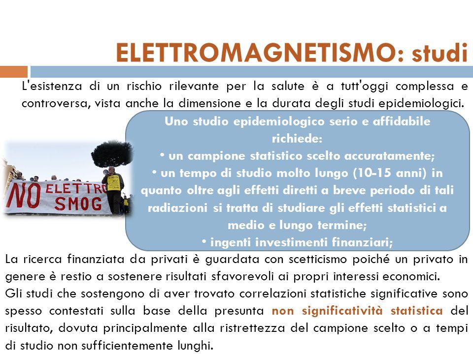 ELETTROMAGNETISMO: studi L esistenza di un rischio rilevante per la salute è a tutt oggi complessa e controversa, vista anche la dimensione e la durata degli studi epidemiologici.